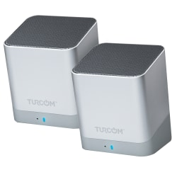 Turcom Wireless Bluetooth 2-Channel Mini PC Speaker Set, Silver, TS-459