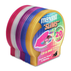 Maxell CD-355 Jewel Cases - Jewel Case - Book Fold - Plastic - Blue, Red, Gold, Teal, Brown - 1 CD/DVD