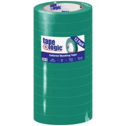 "Tape Logic® Color Masking Tape, 3"" Core, 0.75"" x 180', Dark Green, Case Of 12"