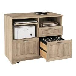 "Realspace® Magellan 36""W Tech Station Printer Stand 2.0, Blonde Ash"