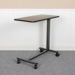 "Flash Furniture Adjustable Overbed Table, 44-3/4""H x 30""W x 15""D, Oak/Silvervein"