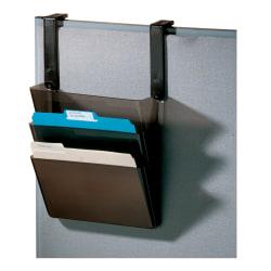 "Office Depot® Brand Plastic Letter-Size Hanging 3-Pocket Wall File, 8-1/2"" x 13-3/8"" x 8-1/2"", Black"