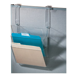 """Office Depot® Brand Plastic Letter-Size Hanging 3-Pocket Wall File, 8-1/2"""" x 13-3/8"""" x 8-1/2"""", Clear"""