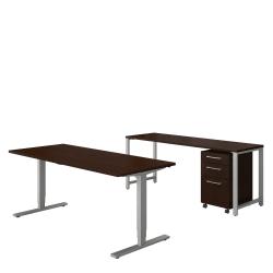 "Bush Business Furniture 400 Series 72""W x 30""D Height Adjustable Standing Desk With Credenza And Storage, Mocha Cherry, Premium Installation"