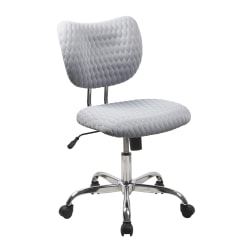 Realspace® Jancy Quilted Fabric Low-Back Task Chair, Gray/Chrome
