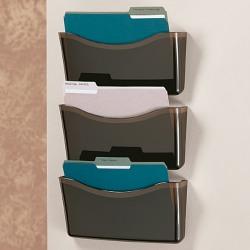 Brenton Studio® Unbreakable 3-Pocket Letter-Size Wall Files, Black, Pack Of 3