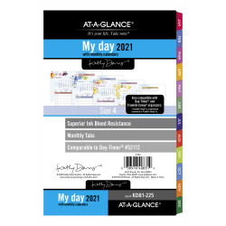 """AT-A-GLANCE® Kathy Davis Daily/Monthly Planner Refill, 5-1/2"""" x 8-1/2"""", Multicolor, January To December 2021, KD81-225"""
