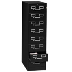 """Tennsco Card 15""""D Vertical 8-Drawer File Cabinet With Lock, Metal, Black"""