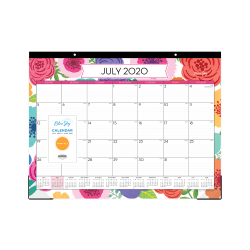 "Blue Sky™ Academic Monthly Desk Calendar, 22"" x 17"", Mahalo, July 2020 to June 2021, 100157-A"