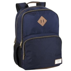 "Benrus Double-Compartment Backpack With 17"" Laptop Pocket, Navy/Brown"