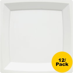 Milan WNA Comet Square Dinner Plate - Dinner Plate - Polystyrene, Plastic - Disposable - White - 12 Piece(s) / Pack