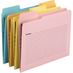 """Smead SuperTab® Notes Fastener Folder - Letter - 8 1/2"""" x 11"""" Sheet Size - 1 Fastener(s) - 1/3 Tab Cut - Top Tab Location - Assorted - Recycled - 24 / Pack"""