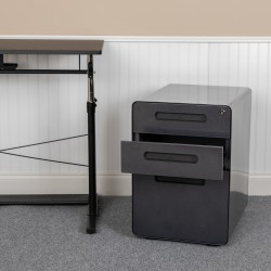 "Flash Furniture Ergonomic 21""D Vertical 3-Drawer Mobile Locking Filing Cabinet, Metal, Black"