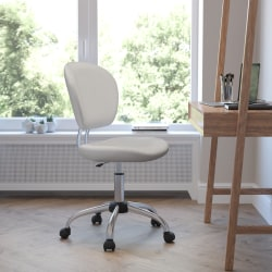 Flash Furniture Mesh Mid-Back Swivel Task Chair, White/Silver