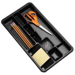 "Office Depot® Brand 9-Compartment Drawer Organizer, 9 1/8""H x 16 1/8""W x 1 1/2""D, Black"