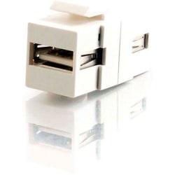 C2G Snap-In USB A/A Female Keystone Insert Module - White - 1 x Type A Female USB - 1 x Type A Female USB - White