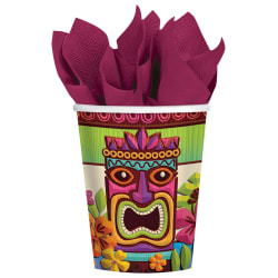 Amscan Summer Luau Tropical Tiki Paper Cups, 9 Oz, Multicolor, Pack Of 50 Cups