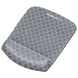 Fellowes® PlushTouch™ Mouse Pad With Wrist Rest, Lattice Pattern, Gray/White