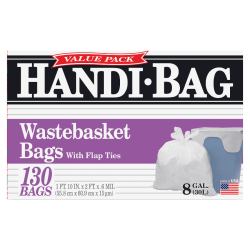 "Draw 'n Tie® 0.6-mil Handi Bag Waste Liners, 8 Gallons, 21-1/2"" x 24"", White, Box Of 130"