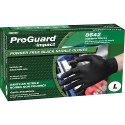 Impact ProGuard Disposable Nitrile Gloves, Powder-Free, Black, Large, Box Of 100