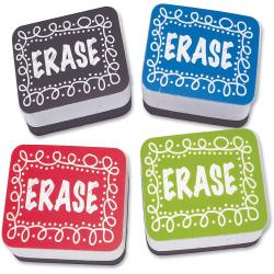 "Ashley Chalk Design Mini Whiteboard Eraser - 2"" Width x 1.25"" Length - Lightweight, Comfortable Grip - Multicolor - 10 / Pack"
