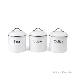 "Mind Reader Coffee, Sugar And Tea Canister Set, 5 1/2""H x 5""W x 5""D, White"