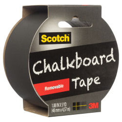 "Scotch® Chalkboard Tape, 3"" Core, 2"" x 5 Yd., Black"