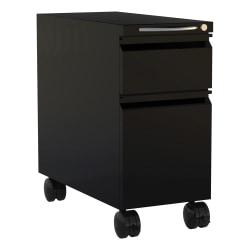 """Safco® Mini 22""""D Vertical 2-Drawer Mobile Pedestal File Cabinet, Metal, Black"""