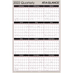 """AT-A-GLANCE® Reversible Erasable Quarterly Wall Calendar, 36"""" x 24"""", Red/Black, January To December 2022, A123"""