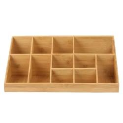 "Mind Reader 11-Compartment Breakroom Coffee Condiment Organizer, 6 1/2""H x 18 3/16""W x 9 1/2""D, Brown"