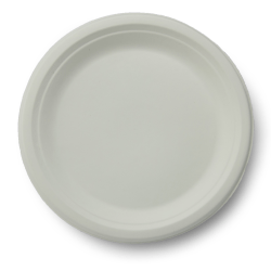 "Stalk Market Compostable Round Plates, 9"", White, Pack Of 500 Plates"