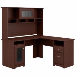 Bush Furniture Cabot L Shaped Desk With Hutch, Harvest Cherry, Standard Delivery