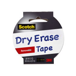 "Scotch™ Dry Erase Tape, 1.88"" x 5 Yd., White"