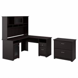 Bush Furniture Cabot L Shaped Desk With Hutch And Lateral File Cabinet, Espresso Oak, Standard Delivery