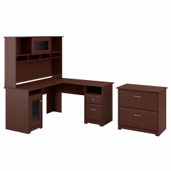 Bush Furniture Cabot L Shaped Desk With Hutch And Lateral File Cabinet, Harvest Cherry, Standard Delivery