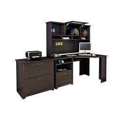 Bush Furniture Cabot Corner Desk With Hutch And Lateral File Cabinet, Espresso Oak, Standard Delivery