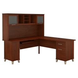 "Bush Furniture Somerset L Shaped Desk With Hutch, 72""W, Hansen Cherry, Standard Delivery"
