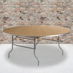 "Flash Furniture Round Heavy-Duty Birchwood Folding Banquet Table, 30""H x 72""W x 72""D, Natural/Silver"