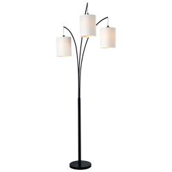 "Kenroy Home Leah Arc Floor Lamp, 83-1/2""H, White Shade/Black Frame"