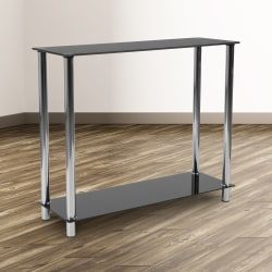"""Flash Furniture Glass Console Table With Tubular Legs, 29-3/4""""H x 35-1/2""""W x 11-3/4""""D, Black/Stainless Steel"""