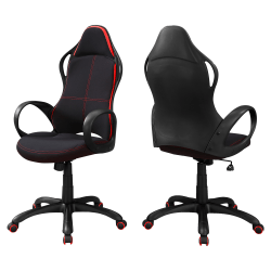 Monarch Specialties High-Back Office Chair, Black/Red