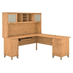 """Bush Furniture Somerset L Shaped Desk With Hutch, 72""""W, Maple Cross, Standard Delivery"""