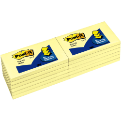 """Post-it® Pop-up Dispenser Notes, 3""""x 5"""", Unruled, Canary Yellow, Pad Of 100 Sheets"""
