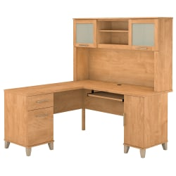 "Bush Furniture Somerset L Shaped Desk With Hutch, 60""W, Maple Cross, Standard Delivery"