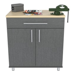 "Inval KRATOS 2-Door Base 32""W Garage Storage Cabinet, Graphite Gray/Maple"