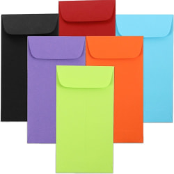 """JAM Paper® #6 Coin Envelopes, 3-3/8"""" x 6"""", Assorted Colors, Pack Of 150 Envelopes"""