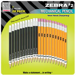 Zebra® #2 Mechanical Pencils, 0.7 mm, Assorted Barrel Colors, Black Lead, Pack Of 28 (14 Black, 14 Yellow)