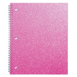"""Office Depot® Brand Glitter 3-Hole-Punched Notebook, 8-1/2"""" x 10-1/2"""", Wide Ruled, 160 Pages (80 Sheets), Pink Glitter"""