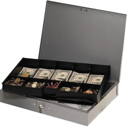 """Steelmaster Cash Box with 10-Compartment Tray - 5 Bill - 5 Coin - Steel - Gray - 6.1"""" Height x 15.3"""" Width x 11.1"""" Depth"""
