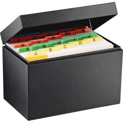 "Steelmaster Steel Index Card Storage File Box, 8 1/2"" x 5 1/8"" x 5 14/16"", Black"